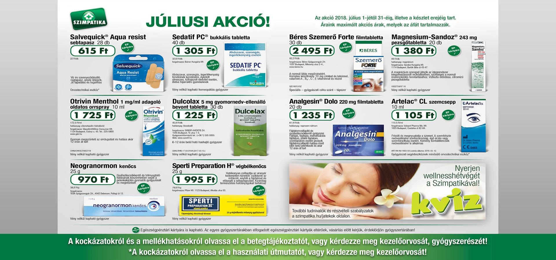 Indóház gyógyszertár - Szimpatika akció - július