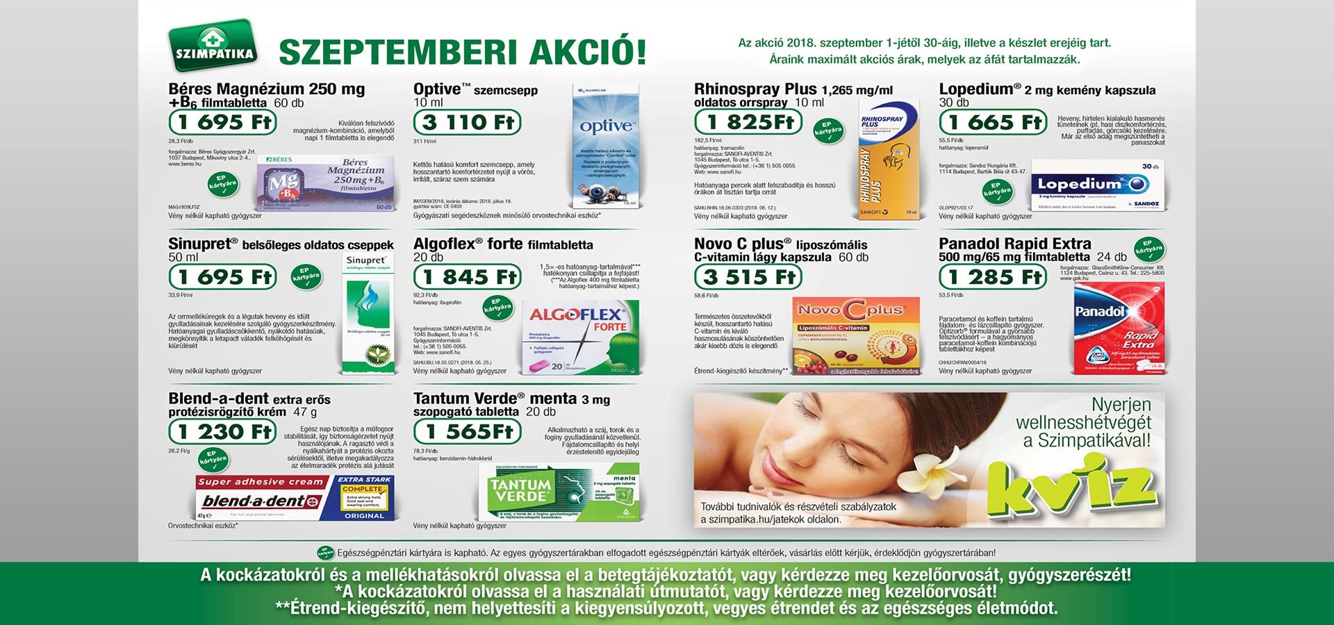 Indóház gyógyszertár - Szimpatika akció 1 - szeptember