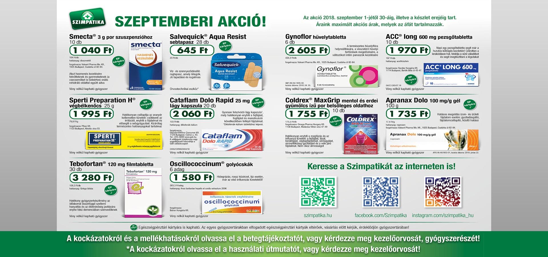 Indóház gyógyszertár - Szimpatika akció 2 - szeptember